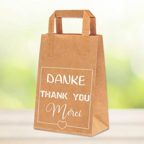 "Papiertragetasche ""DANKE-THANK YOU-MERCI"" - Größe ca. 18x10x23 cm"