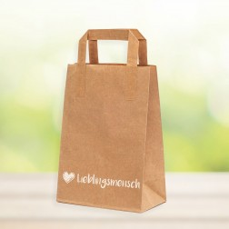 "Papiertragetasche ""Lieblingsmensch"" - Größe ca. 18x10x23 cm (1-farbig/2-seitig)"