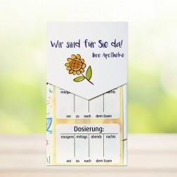Dosierungsetiketten im Spender - Dosierung - morgens - mittags - abends... (500 Stück im Spender)