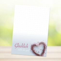 """DIN-A6 Blöckchen """"GLÜCKLICH STEHT DIR GUT"""" (25 Blatt je Block)"""