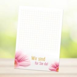 """DIN-A6 Blöckchen """"WIR SIND FÜR SIE DA"""" (25 Blatt je Block)"""